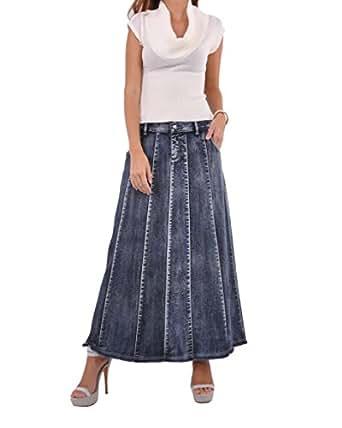Style J Blue Waterfall Long Denim Skirt at Amazon Womenu2019s Clothing store