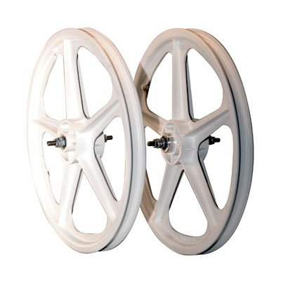 Skyway Tuff II 5 Spoke Mag 3/8 Nutted 20 x 1.75 Freewheel White Wheel Set