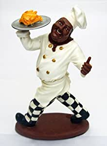 15 5 black african american fat chef kitchen statue home kitchen. Black Bedroom Furniture Sets. Home Design Ideas
