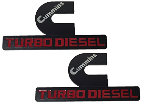 X2 Black Cummins 12V 24V 4BT 6BT Turbo Diesel Emblem Replaces OEM Mopar 68276962AA, 68276962AB Left OR Right Side (Dodge Ram 2500 Grill Emblem compare prices)
