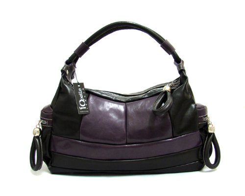 IO Pelle Italian Designer Handbag Shoulder Bag Hobo in Purple Leather