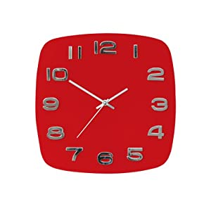 premier housewares horloge murale en verre rouge argent cuisine maison. Black Bedroom Furniture Sets. Home Design Ideas