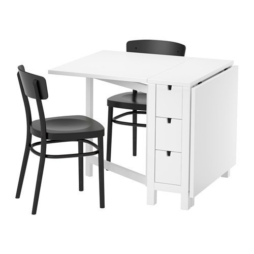 Ikea Table and 2 chairs, white, black 16204.2058.222 (Norden Gateleg Table compare prices)