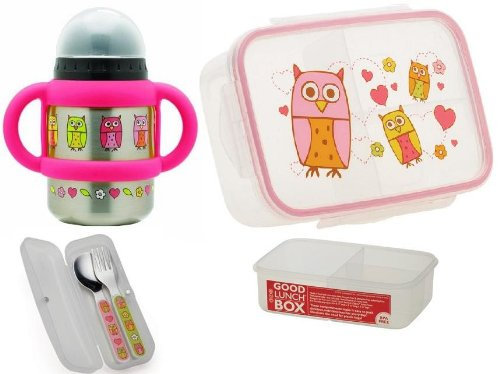 Sugarbooger Divided Good Lunch Box, Silverware, and Flip N Sip Cup Set, Hoot Owl