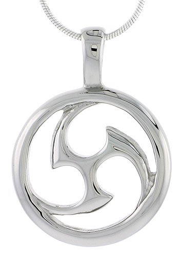 Stainless Steel Tomoe Pendant 1 inch tall, w/ 30 inch Chain