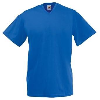 T-shirt à manches courtes et col en V Fruit Of The Loom pour homme (S) (Bleu royal)