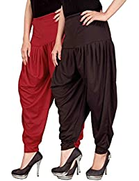 Navyataa Women's Lycra Dhoti Pants For Women Patiyala Dhoti Lycra Salwar Free Size (Pack Of 2) Red & Brown