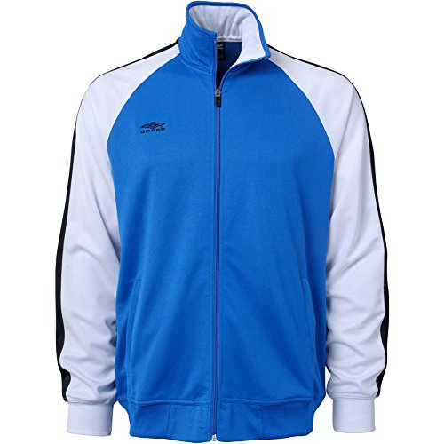 Umbro Mens Tri-Color Full-Zip Track Jacket Medium Royal/White/Black