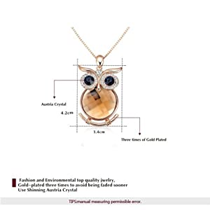 Yoursfs 18K Rose gold Plated Colorful Austrian Crystal Owl Sweater Chain Necklace