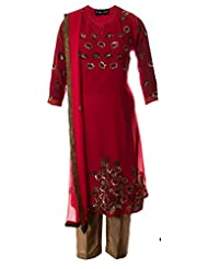 AzraJamil Indian Georgette Tomato Pink Sequence Hand Worked Traditional Churidar Suit For Women