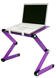FURINNO Hidup Adjustable Cooler Fan Notebook Laptop Table Portable Bed Tray Book Stand, Purple