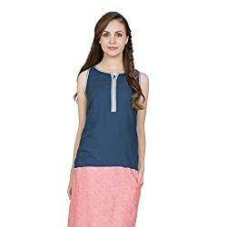Desi Belle Casual Blue Solid Rayon Croc Top