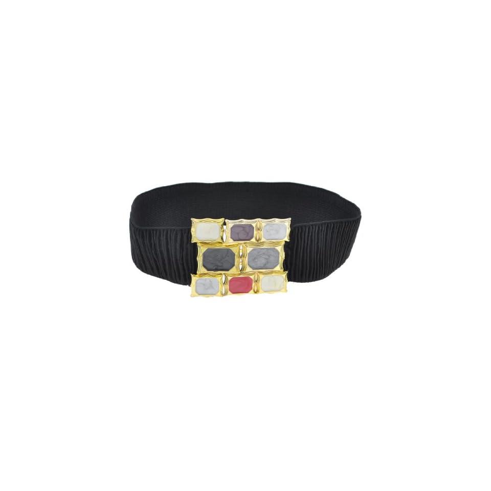 Black Cotton Blend Elastic Fabric Gem Pattern Buckle Belt for Girls