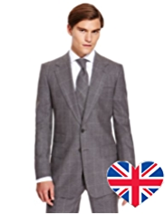 Best of British Pure Wool 2 Button Checked Flannel Jacket