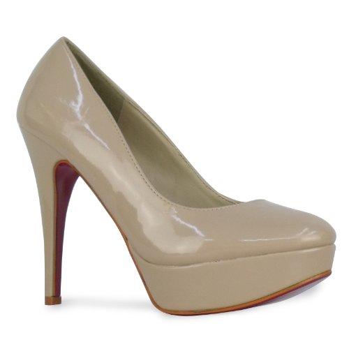 H3E Womens Nude Patent Stiletto High Heel Platform