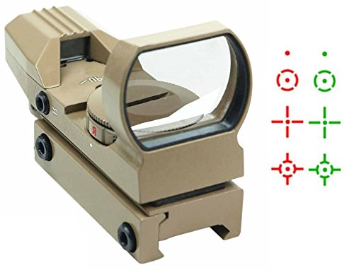 """Global Sportsman Tactical Tan Multi 4 Reticle Red & Green Dot Open Tubeless Reflex Scope Sight Adjustable Brightness With Weaver-Picatinny 7/8"""" Rail Mount"""