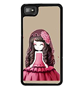Printvisa Animated Girl With Red Dress Hat And Flowers Back Case Cover for Blackberry Z10