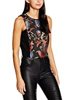 Guess Top Sl Alice (Negro / Coral / Azul)