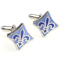 Blue Fleur De Lis Cufflinks with Gift Box