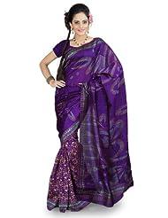 Designersareez Women Bhagalpuri Silk Printed Purple Saree With Unstitched Blouse(852)