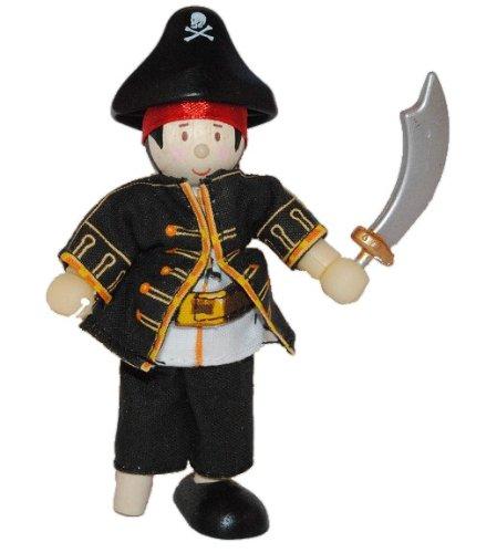 Biegepuppe Holz - Pirat mit Holzbein und Säbel