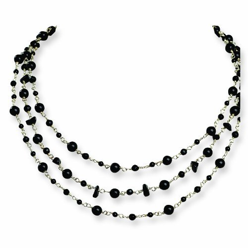 PriceRock Sterling Silver Onyx/Quartz/Black Beaded Necklace