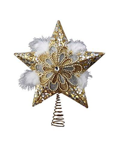Kurt Adler 13.5 Glitter Star Tree Topper, Silver/Gold