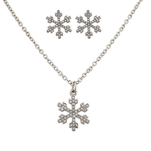 lux-zubehor-silvertone-urlaub-weihnachten-winter-wonderland-ohrring-und-halskette-set