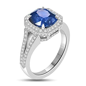4.60 Antique Style Sapphire & Diamond Cocktail Ring Platinum
