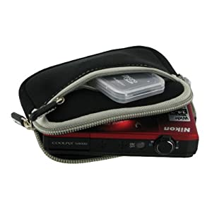 rooCASE Neoprene Sleeve (Black) Carrying Case for Canon PowerShot Digital Camera ELPH 110 HS 320 HS 520 HS D20