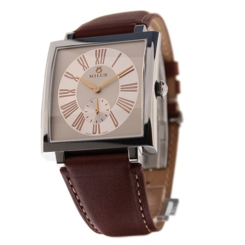 Milus Herios HER-003FC 42 Stainless Steel Case Brown Leather Band Anti-Reflective Sapphire Men's Watch