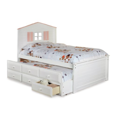 Furniture Of America Blake Twin Captain Bed With Trundle And Drawer Set, White And Pink front-999323