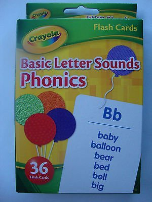 """Crayola"",36 Learning,Flash Cards,BASIC LETTER SOUNDS PHONICS, Educational ,NEW by Preciastore"