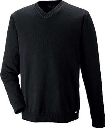 Ash City New Merton Mens Soft Touch V-Neck Sweater_Black w/Fossil Grey_3X