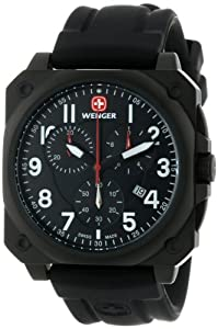 Wenger Men's 77010 AeroGraph Cockpit Chrono Black PVD Rubber Strap Watch