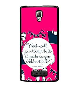 printtech Cool Quotes Life Back Case Cover for Lenovo A2010
