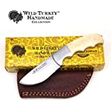 Wild Turkey Handmade Collection Full Tang Bone Handle Fixed Blade Skinner Knife w/Leather Sheath (B) (Color: B)