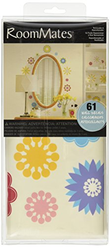 RoomMates RMK1170SCS Graphic Flowers Peel & Stick Wall Decals, 61 Count
