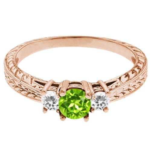 0.58 Ct Round Green Peridot White Topaz 14K Rose Gold 3-Stone Ring