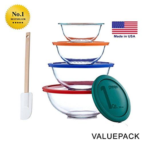 Pyrex Smart Essentials 8-Piece Mixing Bowl Set With Free Bakers Secret Spatula (Bundle) (Baking Glass Bowl Set compare prices)