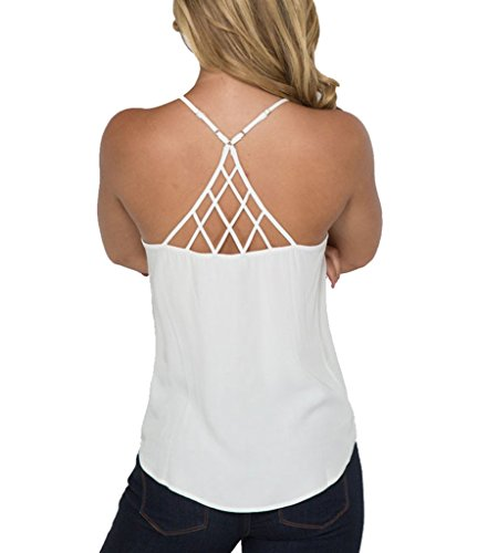 Women's Spaghetti Strap Swing Blouse Tank Top White XL (Spaghetti Strap Swing Blouse compare prices)