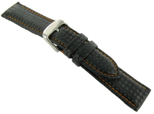Hadley Roma Carbon Fiber Style 18mm Orange Colored Stitching Watch Strap