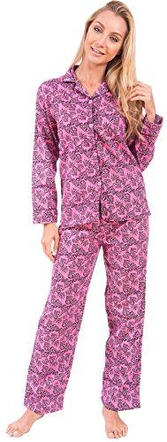 Cozy Loungewear Women's Long Sleeve Cotton Flannel Pajama Sleepwear (Pink,Heart Print, Medium)