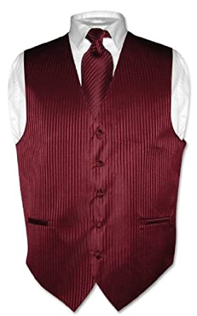 Men's Dress Vest & NeckTie Burgundy Striped Vertical Stripes sz 2XL