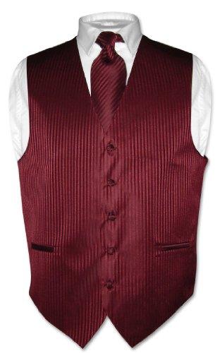 Men's Dress Vest & NeckTie Burgundy Striped Vertical Stripes Design Set | Neckties Store