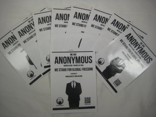 10 Anonymous Global Freedom stickers x 10 Guy Fawkes Anon mask