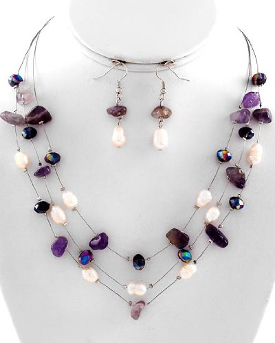 Multi Row Strand Necklace & Earring Set