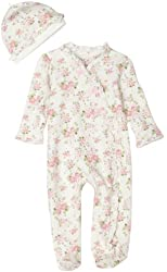 Little Me Cabbage Rose Footie Bodysuit