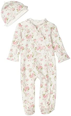 Little Me Cabbage Rose Footie, White Floral, 6 Months