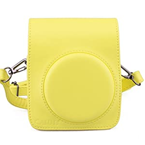 [Fujifilm Instax Mini 70 Case] - CAIUL Comprehensive Protection Instax Mini 70 Camera Case Bag With Soft PU Leather Material ( yellow )